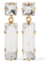 Kenneth Jay Lane | Metallic Gold-tone Crystal Clip Earrings | Lyst