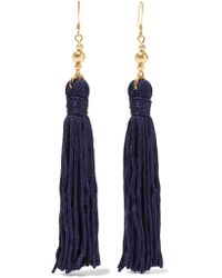 Kenneth Jay Lane - Blue Tasseled Gold-plated Earrings - Lyst