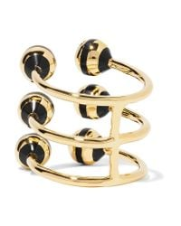 Noir Jewelry - Metallic Honeybee Gold-tone, Crystal And Enamel Ring - Lyst