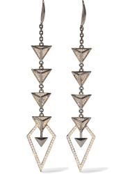 Noir Jewelry | Metallic Hostage Gunmetal-tone Crystal Earrings | Lyst