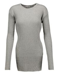 Helmut Lang | Gray Ribbed Cotton And Angora-blend Top | Lyst