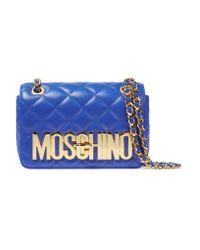 Moschino | Blue Embossed Quilted Leather Shoulder Bag | Lyst