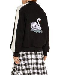 Stella McCartney - Black Lorinda Embroidered Melton Wool-blend Bomber Jacket - Lyst