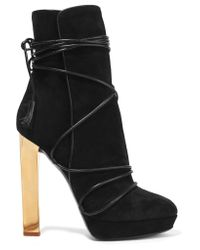 Emilio Pucci | Black Leather-trimmed Suede Ankle Boots | Lyst