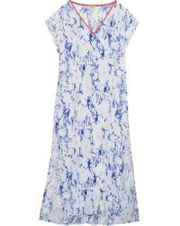 lemlem - Blue Hana Printed Silk-chiffon Kaftan - Lyst