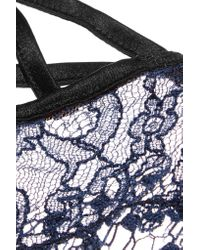 Fleur du Mal - Blue Low-rise Corded Lace And Stretch-tulle Thong - Lyst