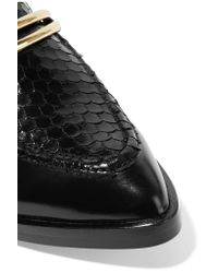 Sigerson Morrison - Black Savana Snake-effect And Glossed-leather Brogues - Lyst