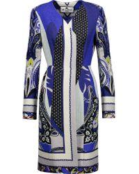 Etro | Blue Cotton-blend Jacquard Coat | Lyst