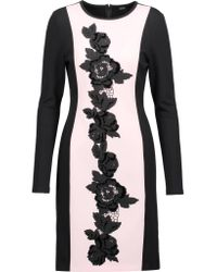 Raoul   Black Drina Appliqued Twill-paneled Cotton-blend Jersey Dress   Lyst