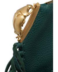 Valentino - Green Fringe-trimmed Crocodile Clutch - Lyst