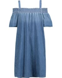 Current/Elliott - Blue Madeline Off-the-shoulder Cotton-chambray Mini Dress - Lyst