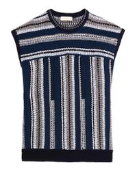 Tory Burch | Blue Knitted Cotton And Linen-blend Top | Lyst