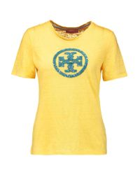 Tory Burch - Yellow Demi Sequin-embellished Linen Top - Lyst