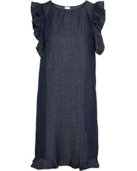 Iris & Ink | Blue Cutout Ruffle-trimmed Chambray Dress | Lyst