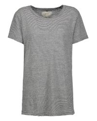 Current/Elliott | Gray The Petit Striped Cotton-jersey T-shirt | Lyst