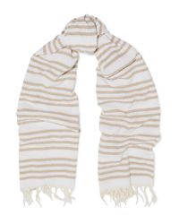 Rag & Bone | White Bennett Fringed Striped Cotton Scarf | Lyst