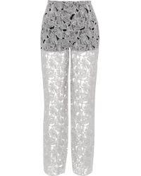 Peter Pilotto - White Tabitha Embroidered Silk-chiffon Pants - Lyst