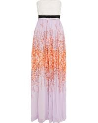 Giambattista Valli - Pink Strapless Printed Silk-chiffon Maxi Dress - Lyst