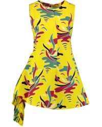 Marni - Yellow Chiffon-paneled Printed Cotton And Linen-blend Twill Mini Dress - Lyst