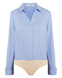 Tibi | Blue Cotton-poplin And Jersey Bodysuit | Lyst