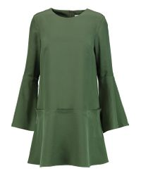 Tibi | Green Belle Fluted Silk Crepe De Chine Mini Dress | Lyst