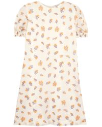Emilia Wickstead White Storm Printed Cloqué Dress Ivory