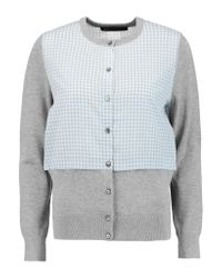Marc By Marc Jacobs | Gray Stretch Knit-paneled Gingham Voile Cardigan | Lyst