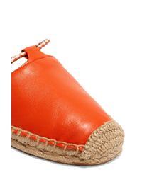 Tory Burch | Orange Positano Lace-up Leather Espadrilles | Lyst