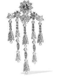 Oscar de la Renta | Metallic Tulip Silver-tone Crystal Brooch | Lyst