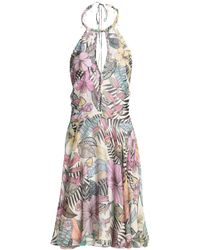 Matthew Williamson - Multicolor Woman Cutout Printed Silk Halterneck Dress Blush Size 12 - Lyst