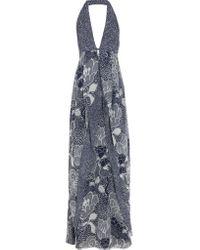 Diane von Furstenberg | Blue Fantasia Printed Silk-chiffon Halterneck Maxi Dress | Lyst