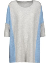 Duffy | Gray Two-tone Open Knit-paneled Cashmere Sweater | Lyst