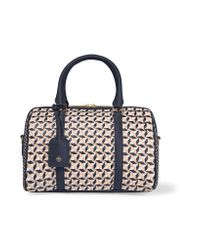 Tory Burch   Blue Robinson Small Woven Leather Tote   Lyst