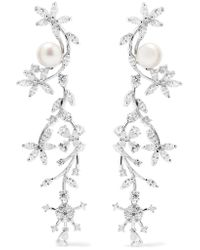 Kenneth Jay Lane | Metallic Silver-tone, Crystal And Faux Pearl Earrings | Lyst
