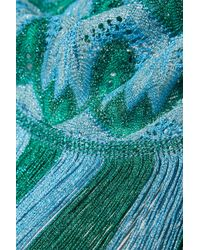 Missoni - Blue Metallic Fringed Crochet-knit Scarf - Lyst