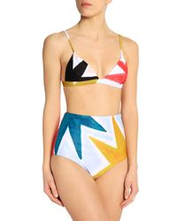 Mara Hoffman - Woman Printed High-rise Bikini Briefs Sky Blue Size S - Lyst
