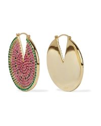 Noir Jewelry | Pink Gold-tone Crystal And Enamel Earrings | Lyst