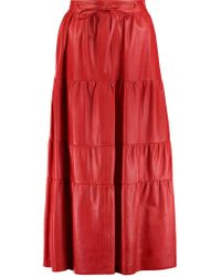 Valentino - Red Leather Midi Skirt - Lyst