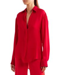 Juan Carlos Obando - Red Silk Crepe De Chine Shirt - Lyst