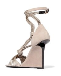 Pierre Hardy - Natural Leather And Suede Wedge Sandals - Lyst