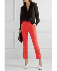 Etro - Red Cropped Crepe Slim-leg Pants - Lyst