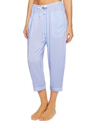 DKNY - Cropped Printed Woven Tapered Pajama Pants Light Blue - Lyst