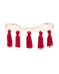 Kenneth Jay Lane - Red Tasseled Gold-plated Choker - Lyst