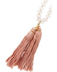 Chan Luu | White Gold-tone Tassel-trimmed Beaded Necklace | Lyst