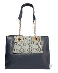 See By Chloé - Blue East-west Paneled Textured-leather Shoulder Bag - Lyst