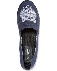 KENZO | Blue Tiger Embroidered Espadrilles | Lyst