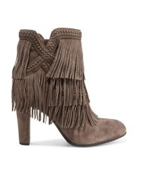 Sam Edelman   Brown Kaleb Fringed Whipstitched Suede Ankle Boots   Lyst
