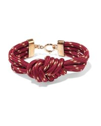 Isabel Marant - Red Knotted Gold-tone Cord Bracelet - Lyst