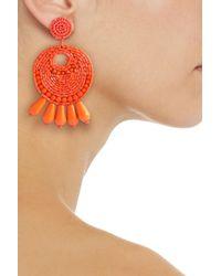 Kenneth Jay Lane - Orange Gold-tone Beaded Earrings - Lyst