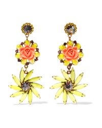 Elizabeth Cole - Metallic Gold-tone Resin, Stone And Crystal Earrings - Lyst